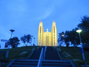 The church in Akureyri by night
