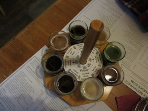 Samplers at Prague brewpub Pivovarsky Dum