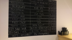 Beer list at The Brink, Manchester