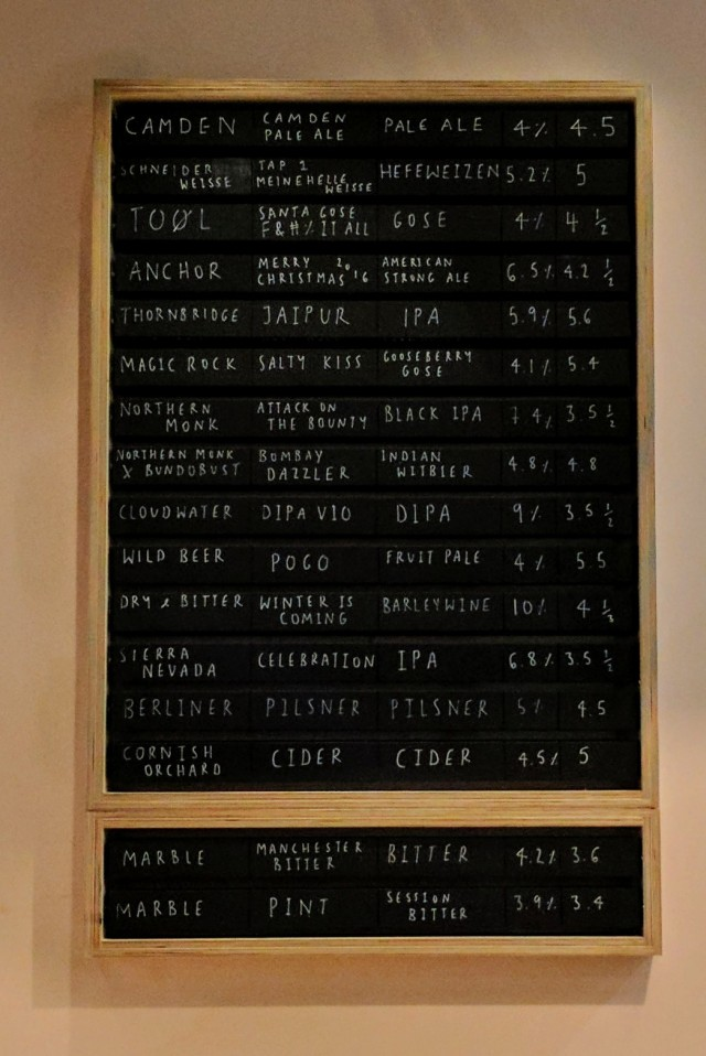 Beer board at Bundobust Manchester