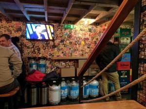 Inside of Hops Beer Bar, a bar selling craft beer in Budapest