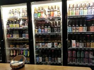 Bottle fridge at Budapest craft beer pub Hops Beer Bar