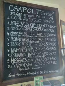 Beer list at Ogre Basci in Budapest