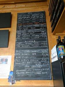 Beer board at Free Trade Inn