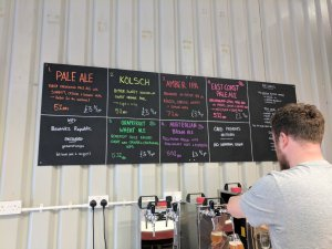 Beer list at Beatnikz Republic brewery in Manchester