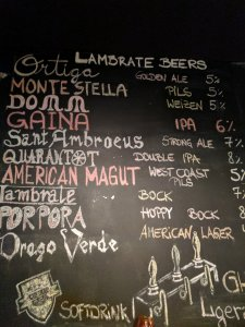 Beer list in Italian beer bar Birra in Berlin