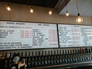 Beer list at craft beer bar Brewdog Berlin Mitte