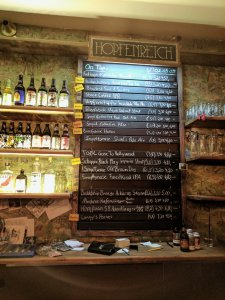 Beer list at Hopfenreich, a craft beer bar in Berlin
