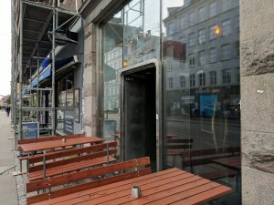 Outside of Dispensary, a craft beer and whiskey bar in Copenhagen